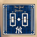 New York Yankees MLB Art Glass Double Light Switch Plate Cover