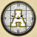 "Appalachian State NCAA College 12"" Round Art Glass Wall Clock"