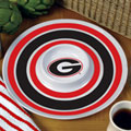 "Georgia UGA Bulldogs NCAA College 14"" Round Melamine Chip and Dip Bowl"