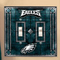 Philadelphia Eagles NFL Art Glass Double Light Switch Plate Cover