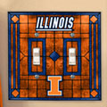 Illinois Illini NCAA College Art Glass Double Light Switch Plate Cover