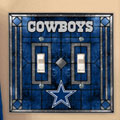 Dallas Cowboys NFL Art Glass Double Light Switch Plate Cover