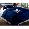 "New York Yankees MLB Twin Chenille Embroidered Comforter Set with 2 Shams 64"" x 86"""
