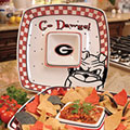 "Georgia UGA Bulldogs NCAA College 14"" Gameday Ceramic Chip and Dip Tray"
