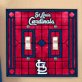 St. Louis Cardinals MLB Art Glass Double Light Switch Plate Cover