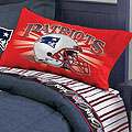 New England Patriots Queen Size Pinstripe Sheet Set