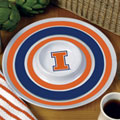 "Illinois Illini NCAA College 14"" Round Melamine Chip and Dip Bowl"
