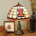 Illinois Illini NCAA College Stained Glass Tiffany Table Lamp