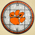 "Clemson Tigers NCAA College 12"" Round Art Glass Wall Clock"