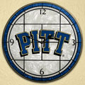 "Pittsburgh Panthers NCAA College 12"" Round Art Glass Wall Clock"
