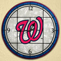 "Washington Nationals MLB 12"" Round Art Glass Wall Clock"