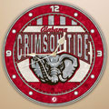 "Alabama Crimson Tide NCAA College 12"" Round Art Glass Wall Clock"