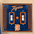 Detroit Tigers MLB Art Glass Double Light Switch Plate Cover