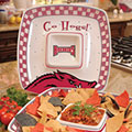 "Arkansas Razorbacks NCAA College 14"" Gameday Ceramic Chip and Dip Tray"
