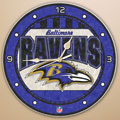 "Baltimore Ravens NFL 12"" Round Art Glass Wall Clock"