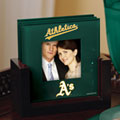 Oakland Athletics MLB Art Glass Photo Frame Coaster Set