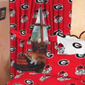 "Georgia Bulldogs 100% Cotton Sateen Short Window Drapes - 63"" Red"