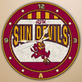 "Arizona State Sun Devils NCAA College 12"" Round Art Glass Wall Clock"