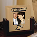 Purdue Boilermakers NCAA College Art Glass Photo Frame Coaster Set