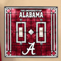 Alabama Crimson Tide NCAA College Art Glass Double Light Switch Plate Cover
