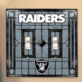 Oakland Raiders NFL Art Glass Double Light Switch Plate Cover