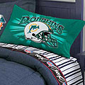 Miami Dolphins Queen Size Pinstripe Sheet Set