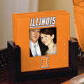 Illinois Illini NCAA College Art Glass Photo Frame Coaster Set