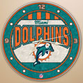"Miami Dolphins NFL 12"" Round Art Glass Wall Clock"