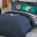 Miami Dolphins NFL Team Denim Twin Comforter / Sheet Set