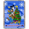 "Mickey Mouse Spread Cheer Holiday 48"" x 60"" Metallic Tapestry Throw"