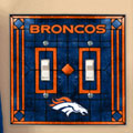 Denver Broncos NFL Art Glass Double Light Switch Plate Cover