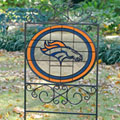 Denver Broncos NFL Stained Glass Outdoor Yard Sign