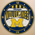 "Michigan Wolverines NCAA College 12"" Round Art Glass Wall Clock"