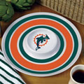 "Miami Dolphins NFL 14"" Round Melamine Chip and Dip Bowl"