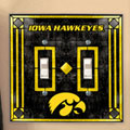 Iowa Hawkeyes NCAA College Art Glass Double Light Switch Plate Cover