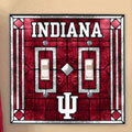 Indiana Hoosiers NCAA College Art Glass Double Light Switch Plate Cover