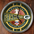 "Green Bay Packers NFL 12"" Chrome Wall Clock"