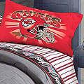 Kansas City Chiefs Twin Size Pinstripe Sheet Set