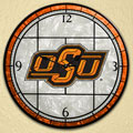 "Oklahoma State Cowboys NCAA College 12"" Round Art Glass Wall Clock"